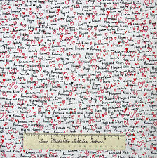 Valentine's Day Fabric - Love Heart Kiss Words White -Timeless Treasures YARD
