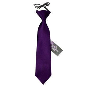 DQT-Satin-Plain-Solide-Violet-Enfants-Elastique-Pre-tied-Page-Garcons-Cravate