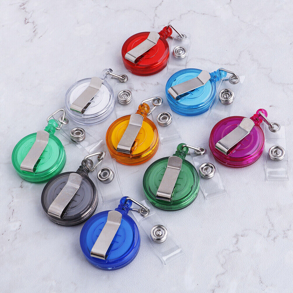 1Pc Retractable Reel Pull Key Id Card Badge Tag Clip Holder Carabiner Styl_ZT