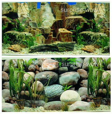 "Fish Tank Aquarium 16"" H(40cm) Background 2 sided picture IMAGE Rock Stone pic 2"