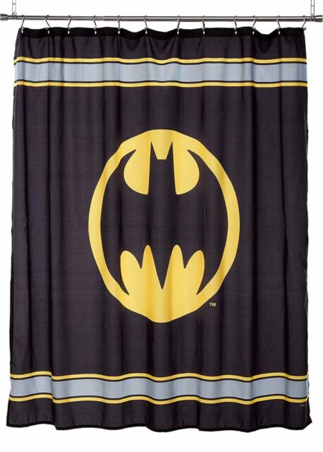Batman Logo Fabric Shower Curtain Kids Bathroom Decor 70x72 Super Hero