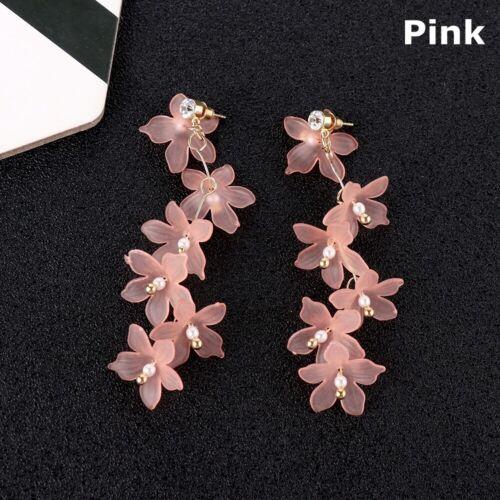Party Resin Fashion Women Petal Dangle Stud Jewelry Flower Earrings Long Drop