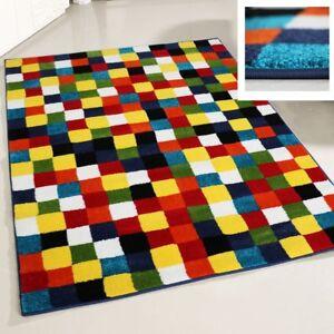 Das Bild Wird Geladen Teppich Bunt Farbig Kurzflor Fuer Wohnzimmer  Mehrfarbig Karo