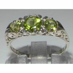 VINTAGE-Insp-Solid-925-Sterling-Silver-High-Quality-Natural-Peridot-Trilogy-Ring