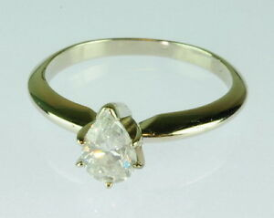 La s 14K White Gold Pear 5 8 CT Diamond Solitaire Engagement Estate Ring