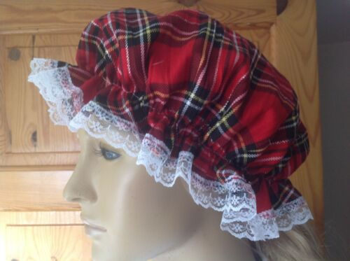 Tartan mop cap Victorian edwardian maid waif costume  BN Adult tartan mob cap
