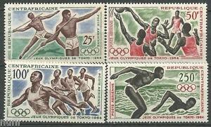 Rechercher Des Vols República Centroafricana Yvert # Pa 22/25 ** Mnh Tokyo 1964