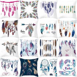 FJ-QA-Multi-color-Feathers-Pattern-Pillow-Case-Square-Cushion-Cover-Home-Decor