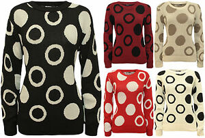 New-Womens-Circle-Spot-Pattern-Long-Sleeve-Ladies-Knitted-Sweater-Jumper-8-14