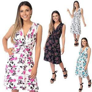 Womens-Floral-Print-Dress-Midi-Drape-Ruched-Front-Knot-Tie-Belt-Casual-Party