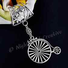 Bicycle Scarf Ring, Clip, Handmade, Antique Silvertone Penny Farthing Pendant