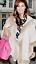Ladies Women Long Sleeve Hooded Faux Fur Trim Style Poncho Cape Cardigan Coat