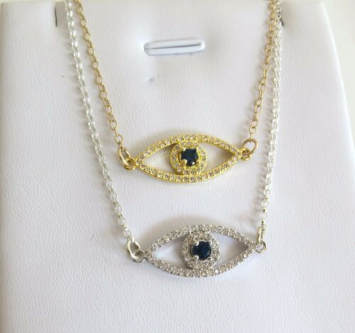 Silver evil eye necklace Gold cubic zircon evil eye necklace,Hamasa CZ necklace