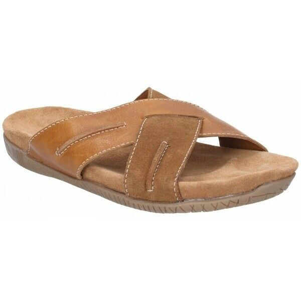 Hush Puppies GIZMO Mens Casual Criss-Cross Straps Leather Mule Sandals Tan Brown
