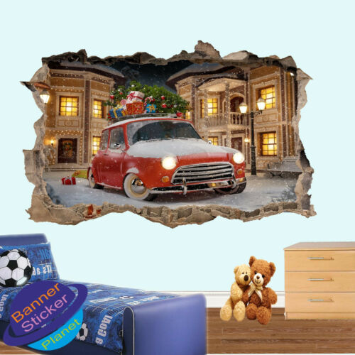 CHRISTMAS PRESENTS CAR SNOW 3D SMASHED WALL STICKERS ROOM DECORATION DECAL MURAL