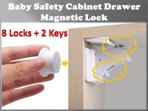 Magnetic Lock Set for Baby Child Cupboard Door Drawer Safety *8 LOCKS+2 KEYS*
