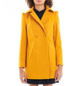 Design moderne magasin britannique belle qualité Détails sur NAF NAF MANTEAU NEUF FEMME EN LAINE JAUNE MOUTARDE TAILLE 44