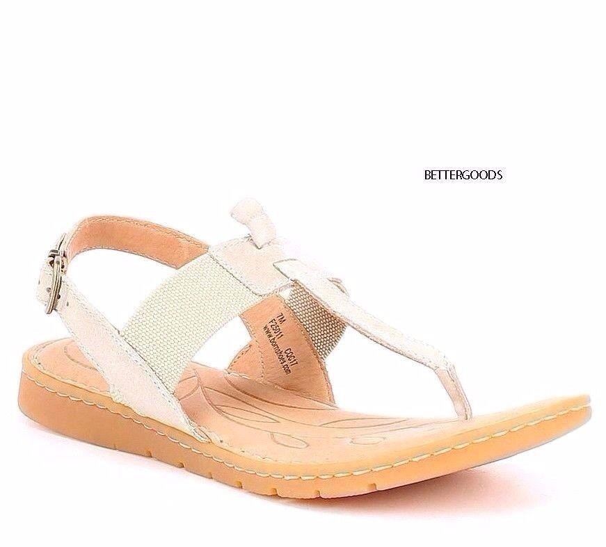 BORN Fabric women's SIRI T STRAP SLINGBACK SANDALS Leather / Fabric BORN Cream Beige 9 M e5b1fe