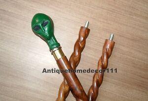 Vintage-Style-Twist-Walking-Cane-Wooden-Stick-36-034-Ceramic-Alien-Head-Handel-Gift
