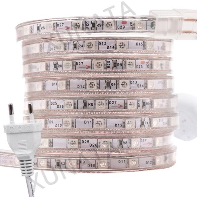220V-240V 5050 SMD LED Strip Light Lamp Waterproof Flexible Rope 60leds/m