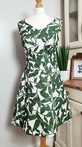 PEPPERBERRY-UK-12-SC-Super-Curvy-Flared-A-line-Quilted-Green-amp-White-Dress