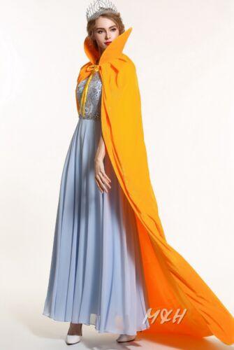 "Unisex 71/"" Velvet Satin Cloak Cape High Collar Medieval Pageant Costumes Dress"