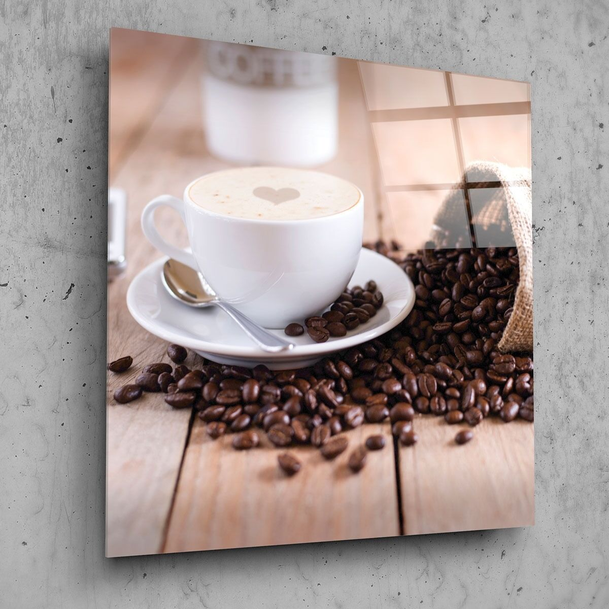 70x70cm Wall Art Glass Print New Picture Kitchen Coffee Beans Food p70221