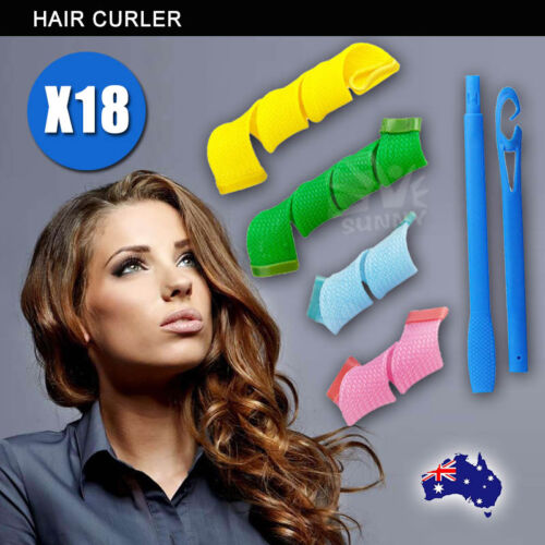 1 of 1 - Magic Hair Curler No Heat 18PCS Leverage Curlers Formers Spiral Styling Rollers