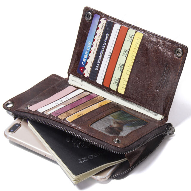 Womens Leather Vintage Bifold Long Purse with Zipper Clutch Wallet Mens Dog