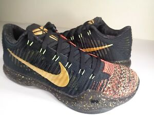 9a3d1609bad3 Nike Kobe 10 X Elite Low Christmas 5 Rings Gold Black Red SZ 9.5 ...
