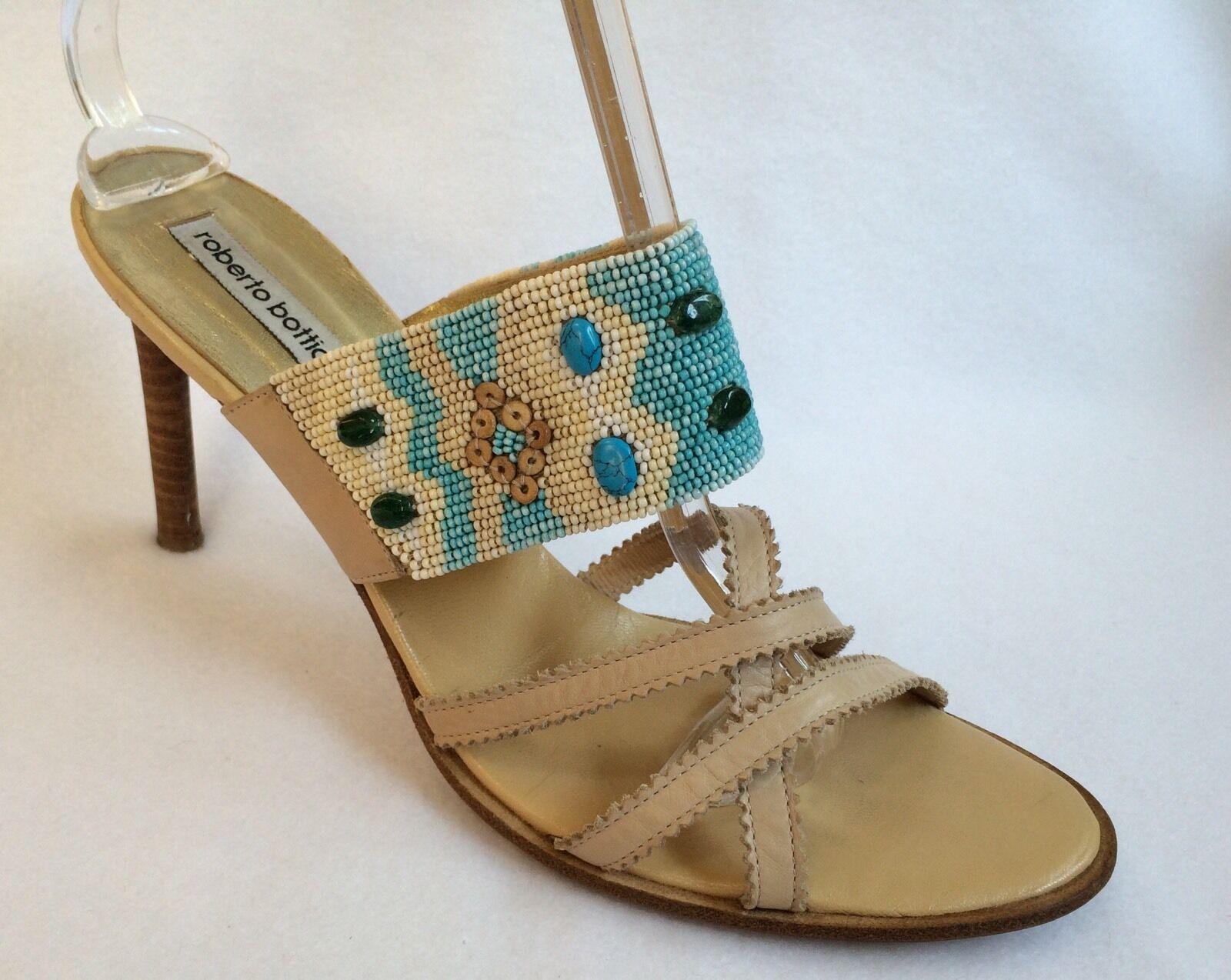 ROBERTO BOTTICELLI SZ 39   8.5 US Handmade Beaded Slip On Strappy High Heels EUC