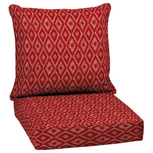 Outdoor patio high back cushion red replacement for deep seat chair furniture ebay - Deep seat patio cushions replacements ...