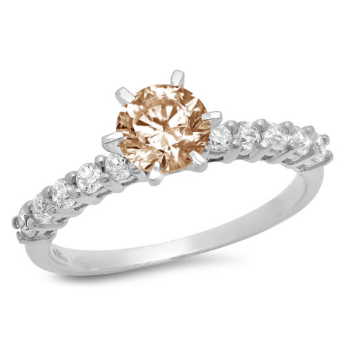 Details about  /1.2 ct Round Champagne Stone Promise Bridal Wedding Designer Ring 14k White Gold