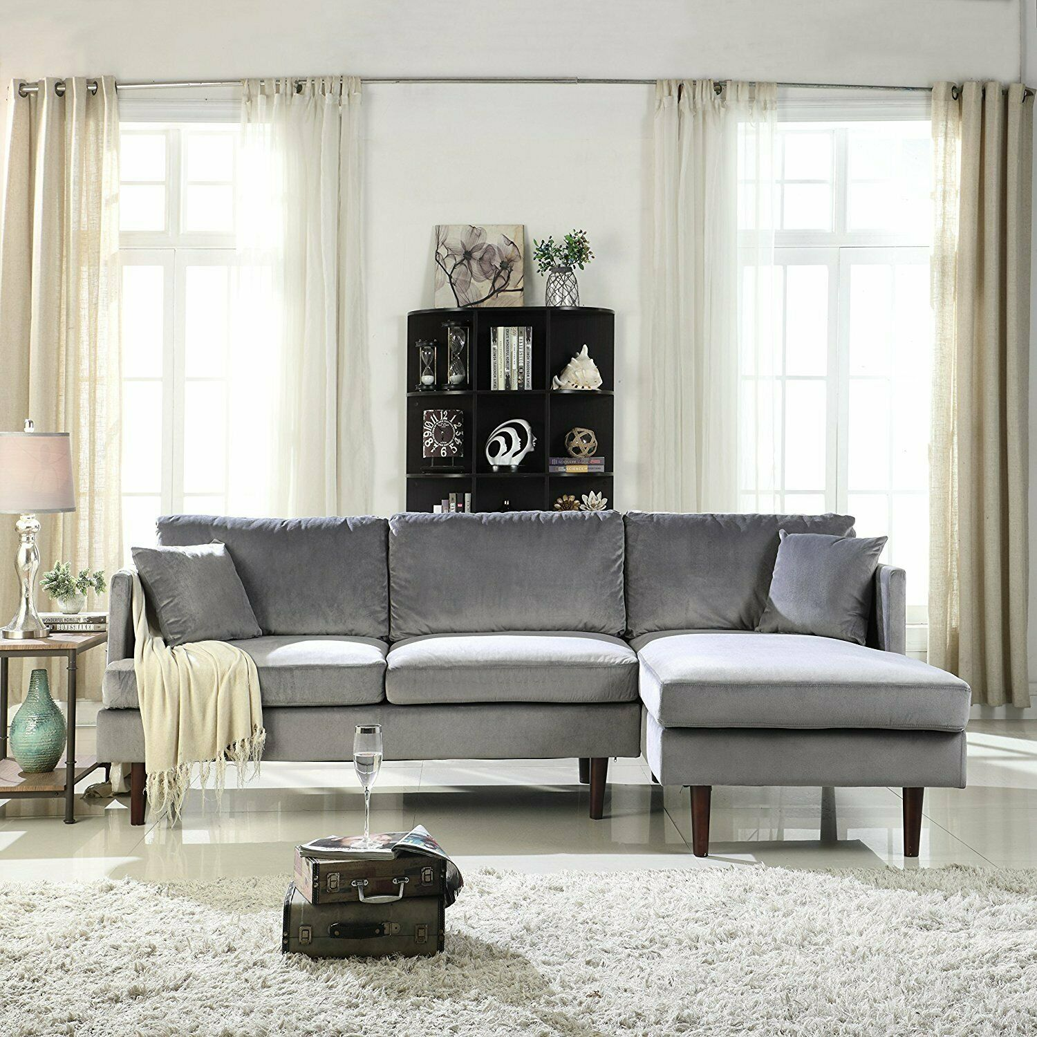 Image of: Classic Microfiber Sectional Sofa W Removable Cushions 2 Accent Pillows Grey For Sale Online