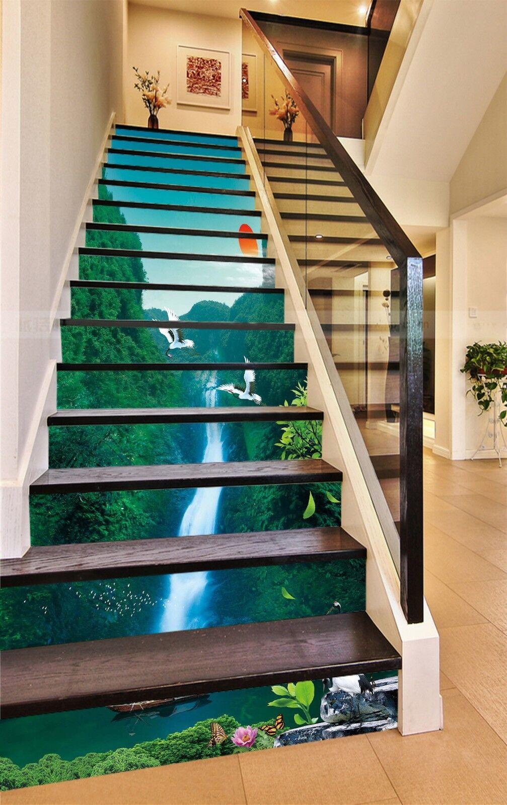 3D Waterfall Sun Stair Risers Decoration Photo Mural Vinyl Decal Wallpaper US