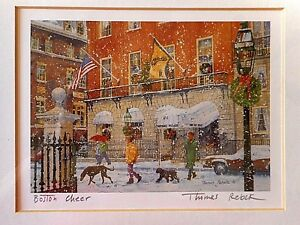 Boston-Cheer-THOMAS-REBEK-Print-Framed-Matted-Hand-Titled-Signed-outside-13x11