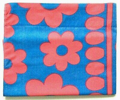 Vintage bedsheet TWIN FLAT flower power Texmade desirable blue color scheme