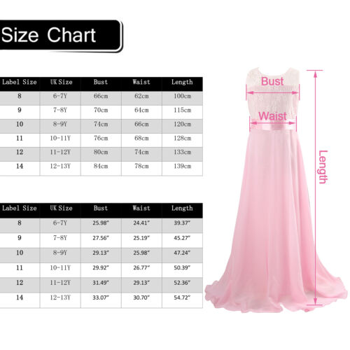 Kids Girls Long Formal Prom Birthday Party Ball Gown Wedding Bridesmaid Dress