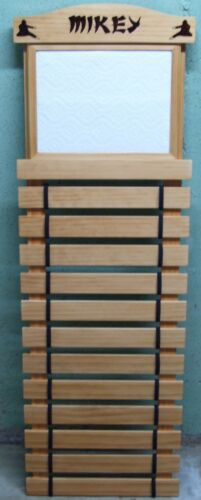KARATE BELT  DISPLAY RACK 10 SLATS WITH DOCUMENT HOLDER