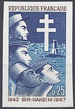 BATAILLE DE BIR-HAKEIM N°1532 TIMBRE NON DENTELÉ IMPERF 1967 NEUF ** MNH