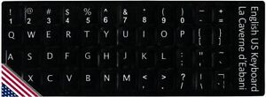 HQRP Autocollants clavier Russe Blanc sur Fond Transparent pour tous les claviers Ordinateur Portables sous-verre