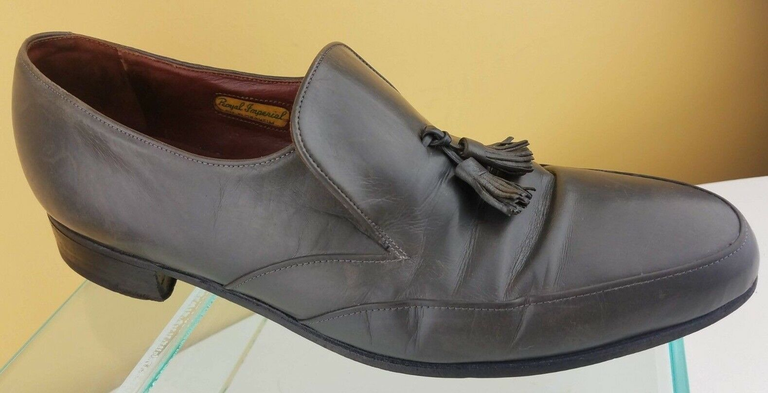 Florsheim Royal Loafer Imperial Men's Gray Leather Apron Toe Tassel Loafer Royal Shoes Sz 9D 0d5f88