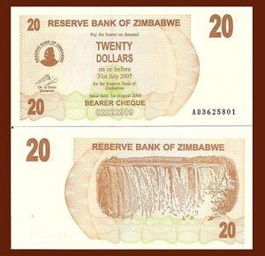 Zimbabwe 20 Dollars Uncirculated Bearer Cheque