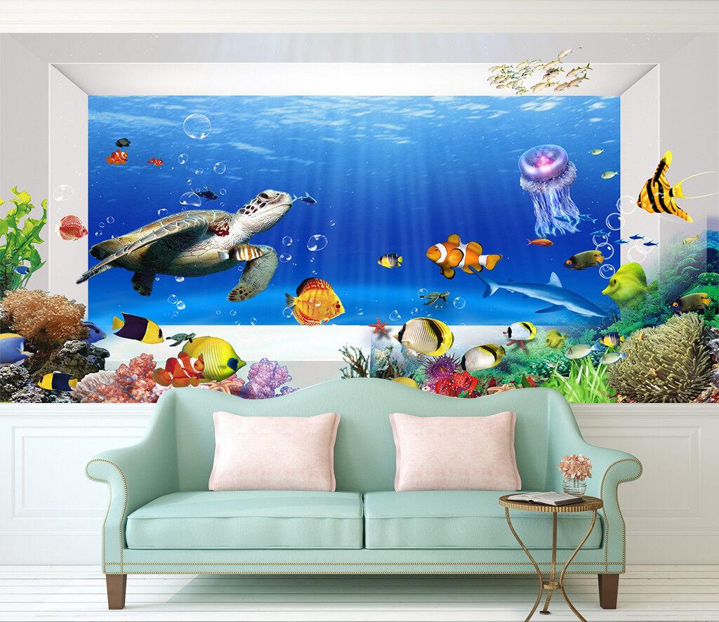 3D Turtle Jellyfish 74 Wall Paper Murals Wall Print Wall Wallpaper Mural AU Kyra