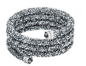 NIB-129-Swarovski-Crystaldust-Wide-Bangle-Triple-Bracelet-Grey-Size-S-5292443