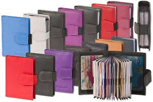 Leder-Etui-Kredit-Kartenetui-mit-flexibler-Aussenlasche-amp-verstaerkten-Faechern