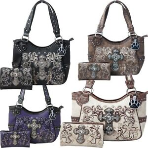 e639068e5d79 Details about Western Purse Rhinestone Cross Embroidery Concealed Carry  Handbag Wallet Set