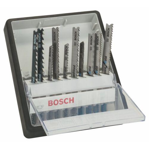 Bosch 10-piece robuste ligne lame Jigsaw set bois et métal t-shank 2607010542