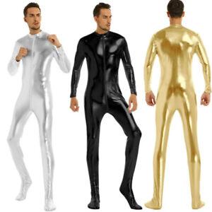 Mens-Shiny-Metallic-Leotard-Bodysuit-Full-Body-Zipper-Jumpsuit-Catsuit-Clubwear