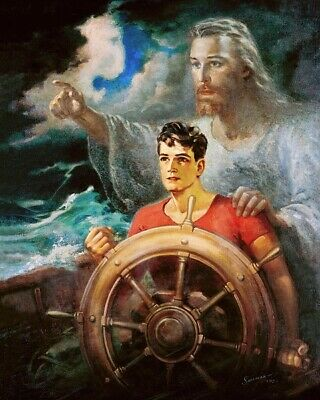 Warner Sallman CHRIST OUR PILOT 8x10 Print Jesus Young Man on Boat in Storm